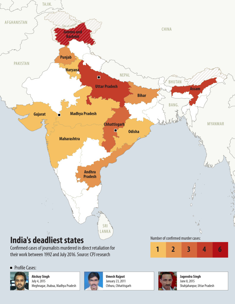 The Committee to Protect Journalists released a report highlighting the Indian states where the most journalists were murdered in direct retaliation for their work. Credit: Committee to Protect Journalists