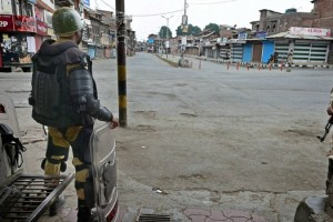 File photo of curfew in Shrinagar last month. Credit: PTI