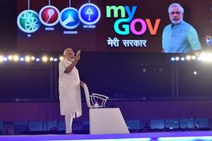 Prime Minister Narendra Modi at a You Gov town hall. Credit: PTI