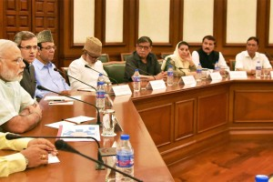 An opposition delegation from Jammu and Kashmir during a meeting with Prime Minister Narendra Modi, in New Delhi on Monday. Credit: PTI