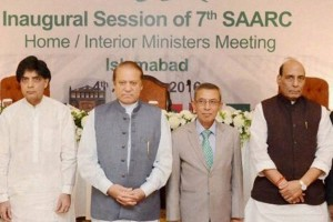 Pakistan's Prime Minister Nawaz Sharif with India's Home Minister Rajnath Singh (R) and Pakistan's Interior Minister Chaudhry Nisar Ali Khan (L) at the inaugural session of 7th SAARC Home/ Interior Ministers meeting in Islamabad on Thursday. Credit: PTI / Press Information Department, Pakistan