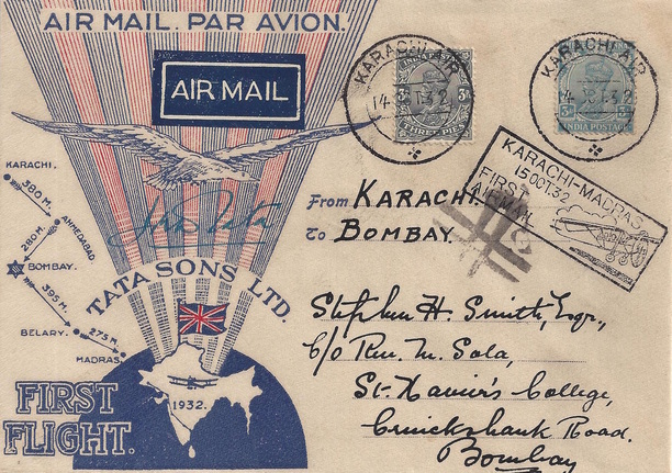 Actual mail flown from Karachi to Bombay on the flight piloted by JRD Tata on 15th October 1932. This was the first flight of the Aviation Division of Tata Sons Ltd. Credit: airindiacollector.com
