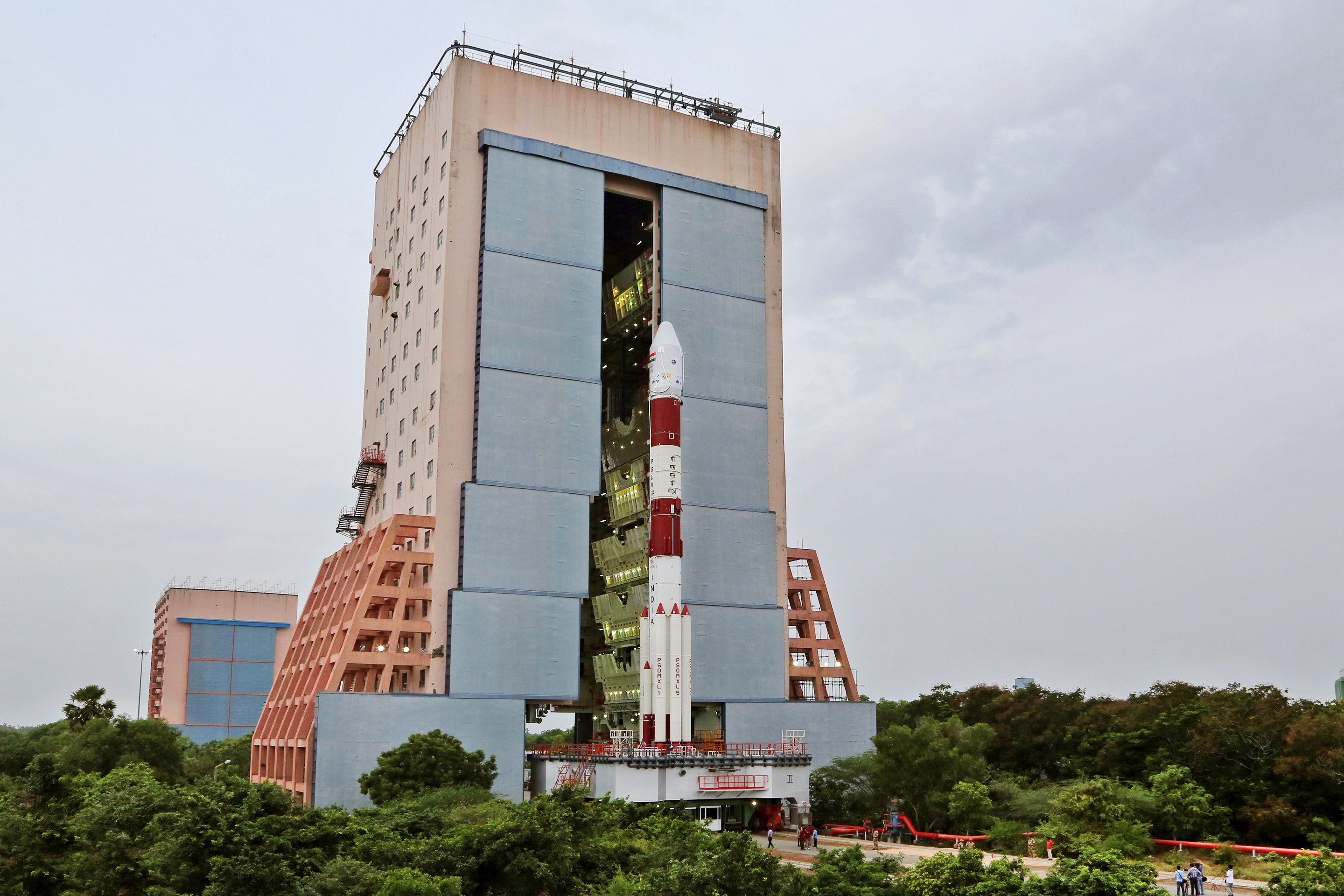 A fully integrated PSLV C-34 outside the vehicle assembly building and ahead of its launch on June 22, 2016. The vehicle flew in the XL configuration. Credit: ISRO