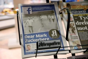 The front cover of Norway's largest newspaper by circulation, Aftenposten, is seen at a news stand in Oslo, Norway September 9, 2016. Credit:  NTB Scanpix/Cornelius Poppe/via REUTERS
