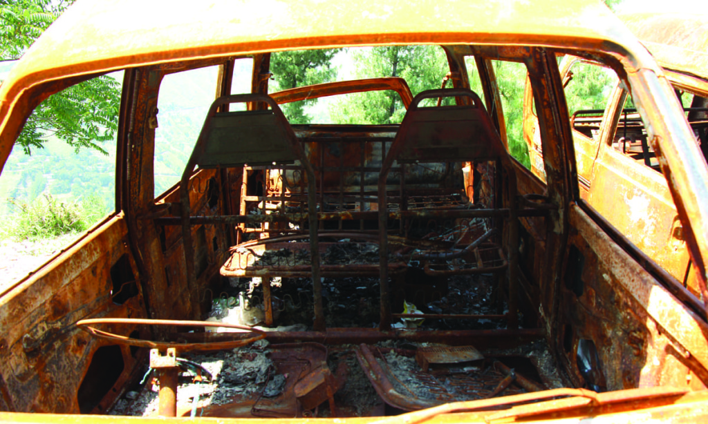 The interior of the burnt van. Credit: Annie Ali Khan/The Herald