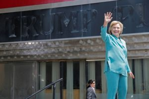US Democratic presidential candidate Hillary Clinton takes the stage for a campaign speech outside the shuttered Trump Plaza in Atlantic City, New Jersey July 6, 2016.  Credit: Reuters/Brian Snyder