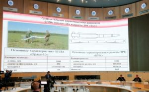 """A screen shows the specifications of the """"Orlan-10"""" unmanned aerial vehicle (L) and the """"Buk"""" missile system during a news conference, dedicated to the crash of the Malaysia Airlines Boeing 777 plane operating flight MH17, in Moscow, Russia, September 26, 2016. Credit: Reuters/Maxim Zmeyev"""