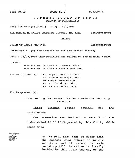 A screenshot of the Supreme Court's order last week on making Aadhaar mandatory for scholarship schemes. Credit: The Wire