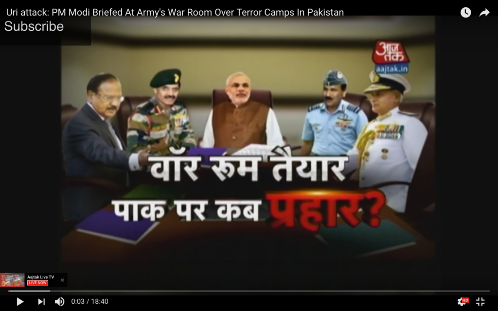 'The war room is ready, now when are we going to attack Pakistan?' Aajtak programme after Uri