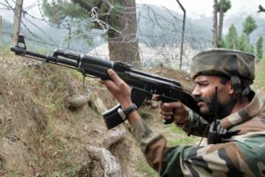 An Indian army soldier takes his position near his camp. Representational image. Credit: Reuters.