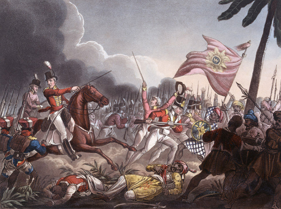 Major General Wellesley (mounted) commanding his troops at the Battle of Assaye. Credit: Wikimedia Commons