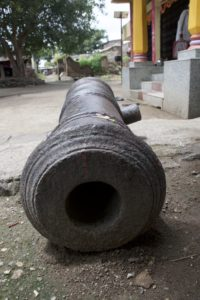 A small British field cannon at Peepulgaon, one of the villages on the Kailna. (We know its British because it has the mark of the crown.) Credit: Aditya Ramanathan