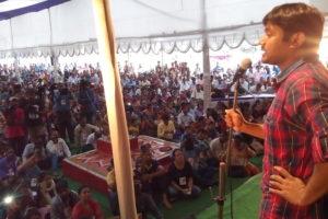 Kanhaiya Kumar speaking at the convention. Credit: Special arrangement