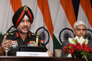 New Delhi: Director General Military Operations (DGMO), Ranbir Singh salutes after the Press Conferences along  with External Affairs Spokesperson Vikas Swarup,  in New Delhi on Thursday. India conducted Surgical strikes across the Line of Control in Kashmir on Wednesday night. Credit: PTI/Shirish Shete