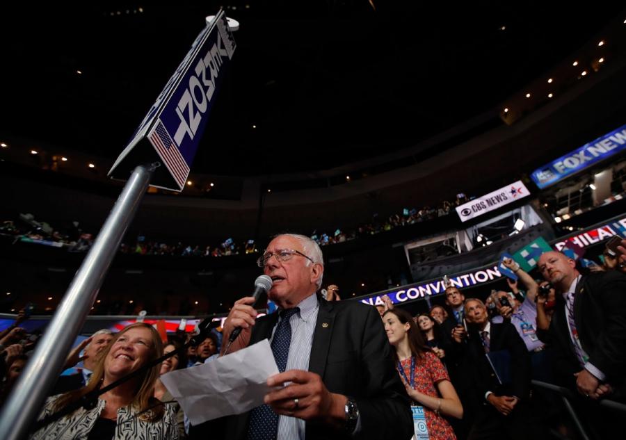 Sanders nominates Clinton at the Democratic National Convention. Credit: Carlos Barria/Reuters