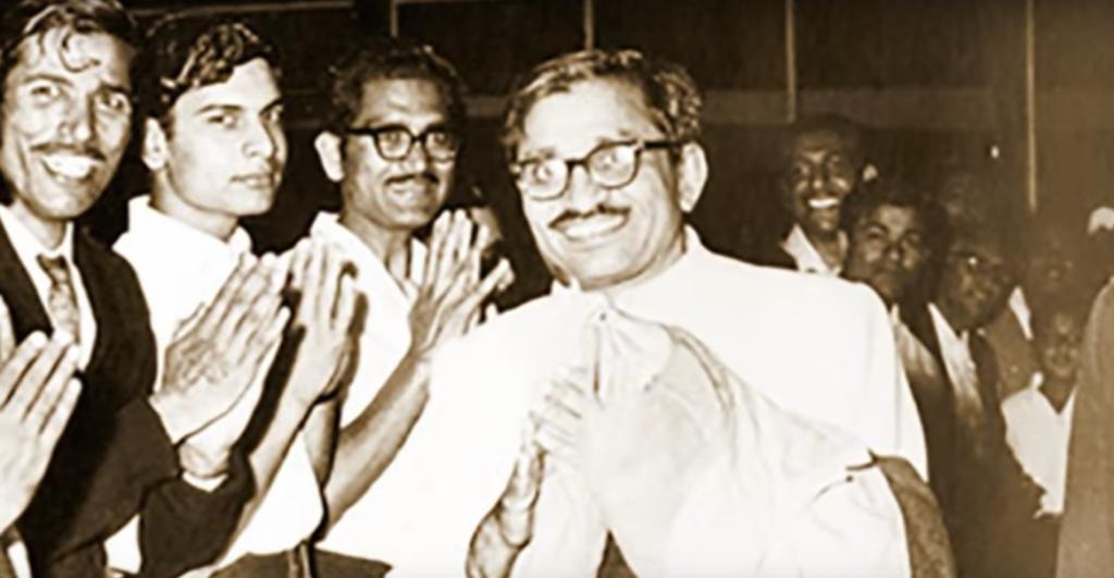 Deendayal Upadhyaya greeting well-wishers. Screen grab from YouTube/Deendayal Upadhyaya | Jeevan Darshan, a film directed by Vinay - Samaksh