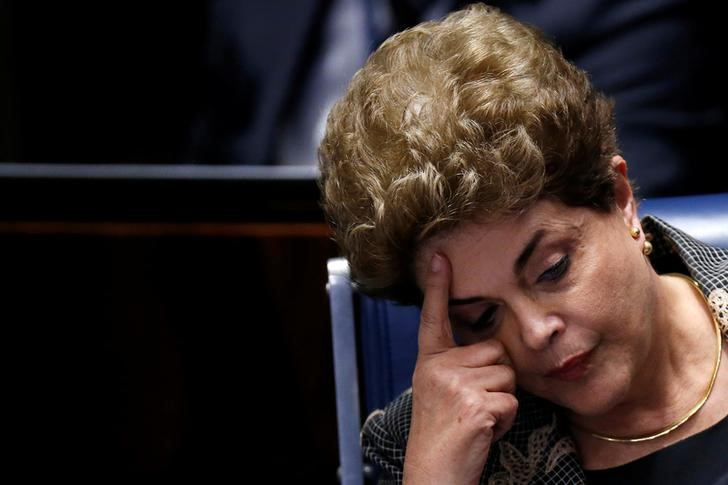Dilma Rousseff seen at the final session of debate and voting on her impeachment trial in Brasilia, Brazil, August 29, 2016. Credit: Reuters