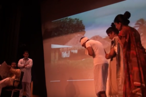 Students at CUH performing Mahasweta Devi's Draupadi. Credit: YouTube