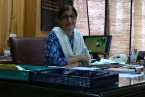 Farida Abdullah Khan at her office in New Delhi. Credit: Sangeeta Baruah