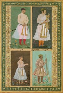 Four portraits. Mughal miniature painting, early-17th century. Credit: Pratyay Nath/ pinterest