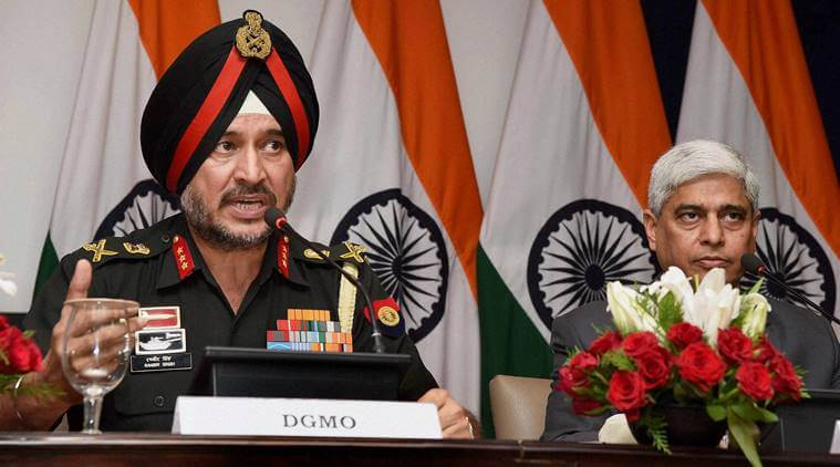 DGMO Lieutenant General Ranbir Singh holding a press conference to announce that India conducted surgical strikes. Credit: PTI