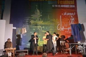 Manto's play Mammadbhai being staged at the Bhendi Bazaar Urdu festival. Photo courtesy: Urdu Markaz