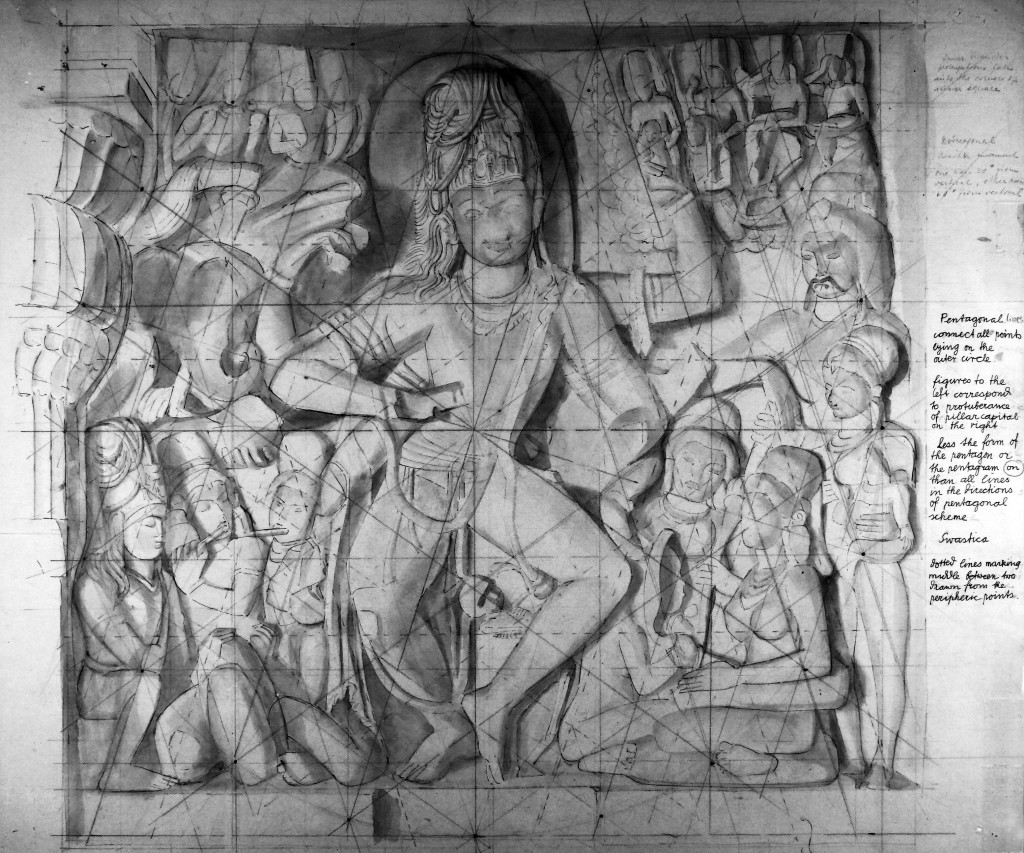 Image of Siva Nataraja with Boner's notes and gridlines from Ellora cave XIV, 1941-1955-3