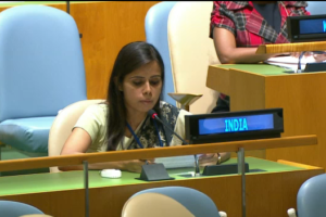 First secretary to the Indian permanent mission to the UN Eenam Gambhir responding to Nawaz Sharif's speech. Credit: UN Web TV screengrab