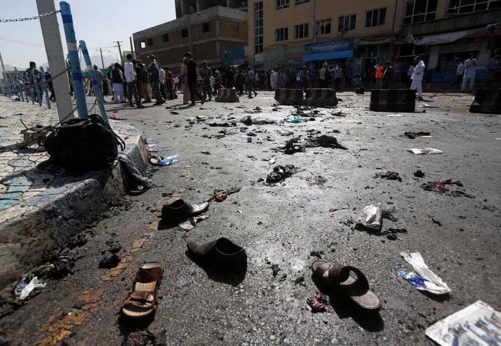 The shoes of victims are seen at the site of blast in Kabul, Afghanistan July 23, 2016. Credit: Reuters