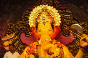 The idol of Ganesh in Lalbaug, known as Lalbaugcha Raja. This year, . Credit: Karthikndr/Wikimedia Commons