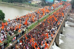 People participate in a protest organised by the Maratha Karnti Morcha in Nashik. Credit: PTI