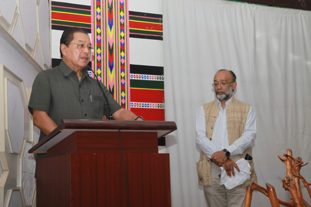 Mizroman chief minister Lal Thanhawla speaks at the premier of the film Rambuai: Mizoram's 'Trouble' Years in Aizawl and Sanjoy Hazarika. Credit: PTI