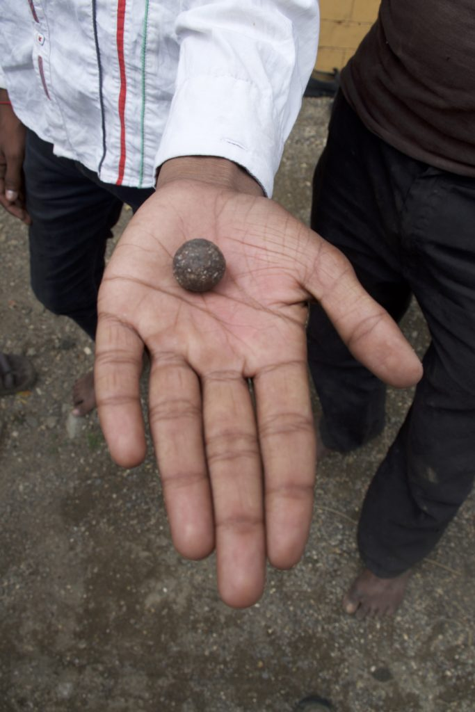 A musket ball (or possibly canister shot) that a teenage boy offered to sell the author. Credit: Aditya Ramanathan