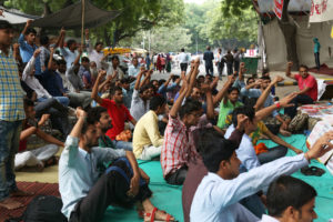 Workers protesting against Honda Rajasthan management at Jantar Mantar. Credit: Hina Fathima