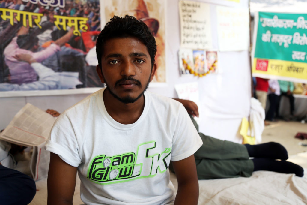 Vipin Paul returned to the site of the protest after being taken to the hospital when he fainted on September 26. Credit: Hina Fathima