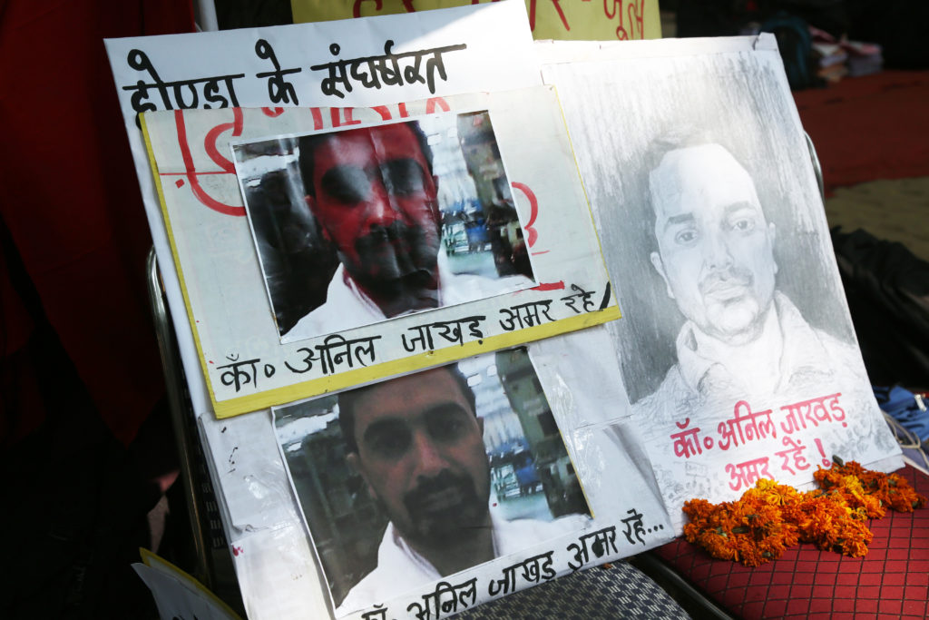 Poster of Anil Jakhad, a terminated Honda employee who died in a bike accident in Haryana on September 18. A candlelight vigil was held for him over the weekend. Credit: Hina Fathima