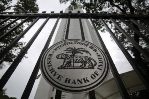 The Reserve Bank of India (RBI) seal is pictured on a gate outside the RBI headquarters in Mumbai July 30, 2013. Credit:Reuters/Vivek Prakash/Files
