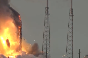 A Falcon 9 rocket goes up in flames at Launch Complex 40, Cape Canaveral, on September 1, 2016. Source: YouTube