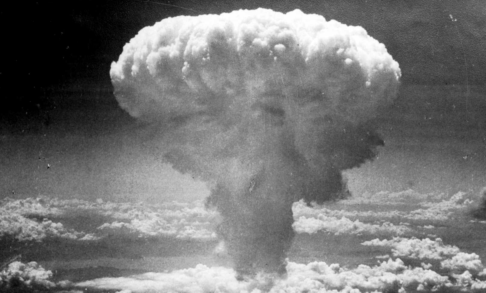 Over Nagasaki on August 9, 1945… Credit: Wikimedia Commons