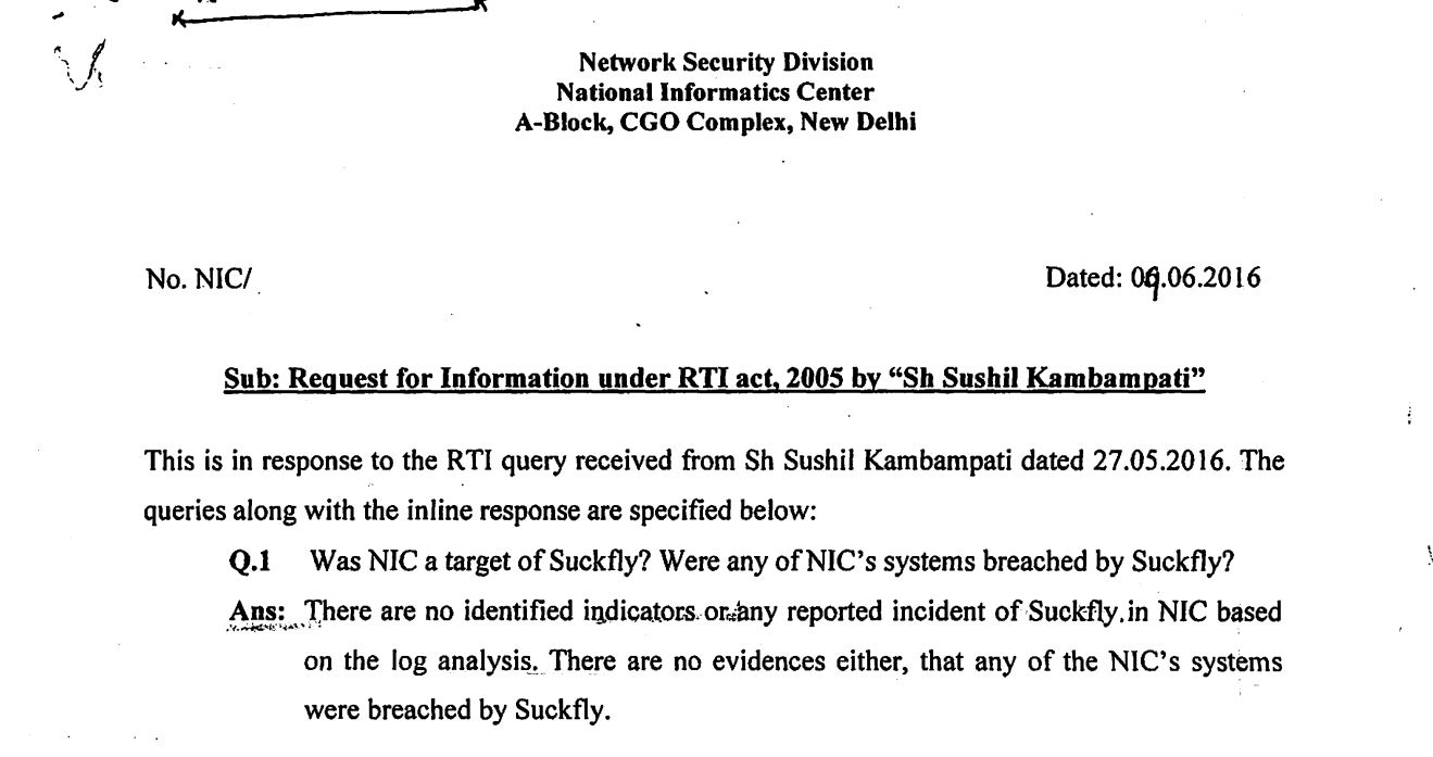 A clipped excerpt of the RTI sent to the National Informatics Centre.