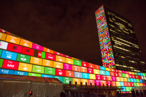 The Sustainable Development Goals projected onto UN Headquarters. Credit: UN Photo/Cia Pak