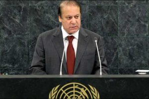 Pakistani prime minister Nawaz Sharif speaking at the UN General Assembly on September 21, 2016. Credit: Geo TV screengrab