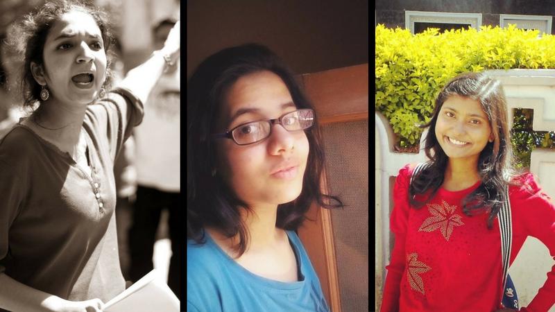 AISA's women candidates: Kawalpreet Kaur (right), Ankita Nirmal (centre) and Amrita Queen (left) Credit: Facebook