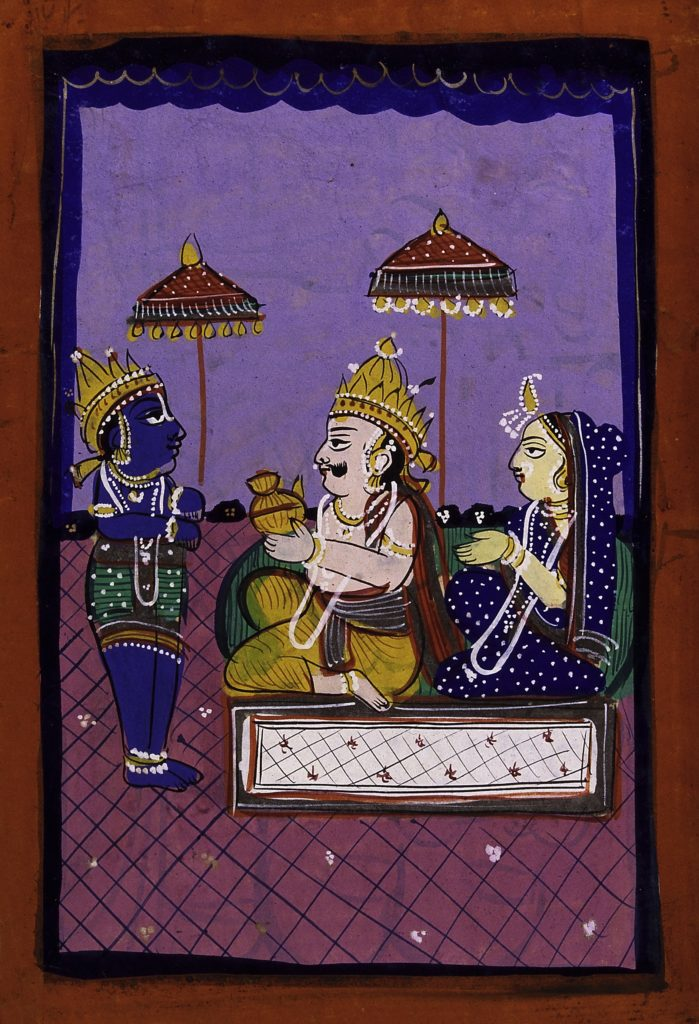 Vamana avatar: Vaman before King Bali and consort. Credit: Wellcome Library, London/Wikimedia Commons/ CC BY 4.0