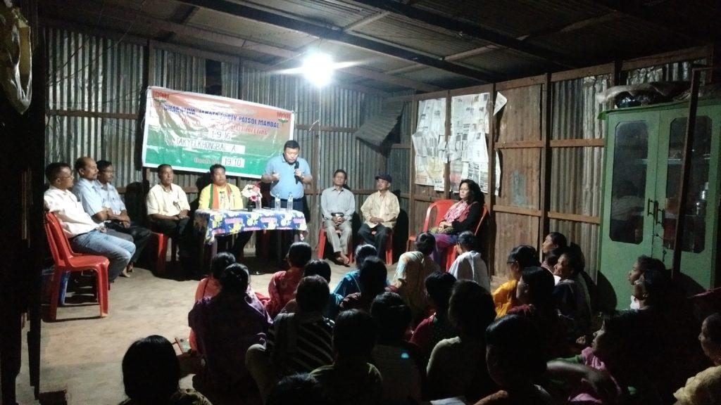 A camera meeting of the BJP in progress at Patsoi. Credit: Sangeeta Barooah Pisharoty
