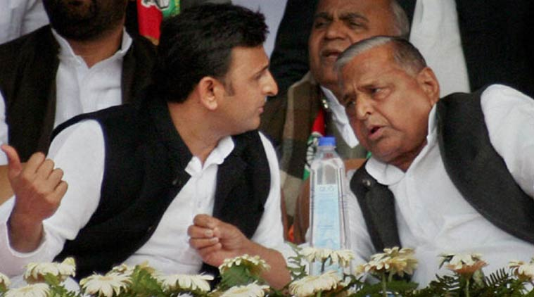 File photo of UP chief minister Akhilesh Yadav (left) with his father Mulayam Singh Yadav. Credit: PTI