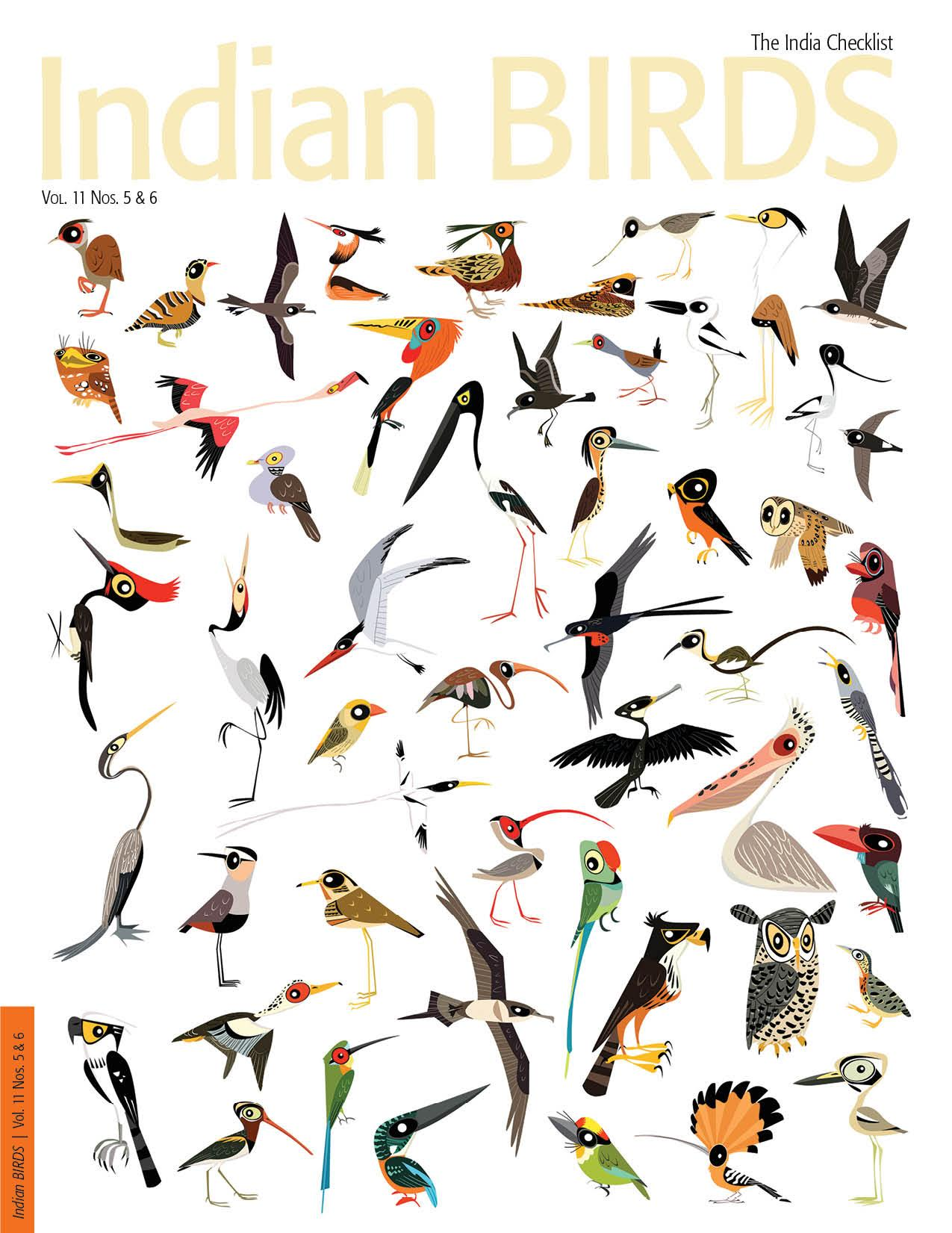 The cover of the journal Indian BIRDS to mark the publication of the checklist. Credit: Special arrangement