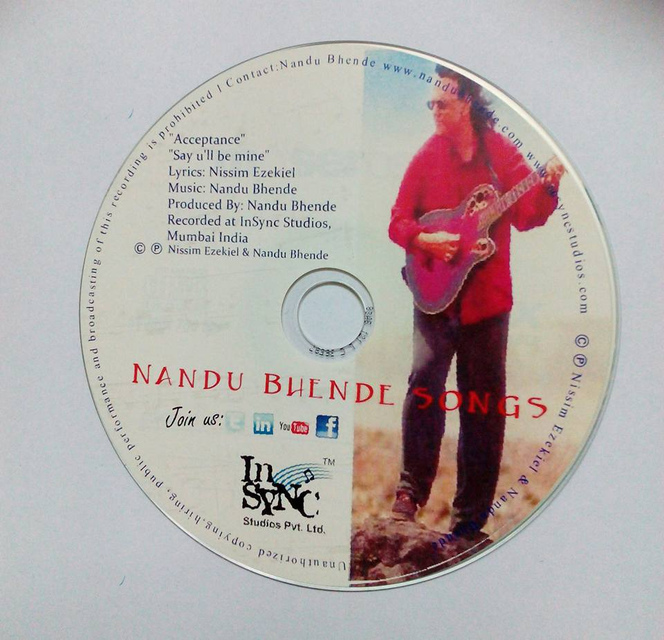 The CD containing the recording of Acceptance by Nissim Ezekiel sung by his nephew Nandu Bhende