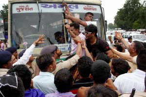 Police detain Dalit marchers in Rajkot, Gujarat in July. Credit: PTI