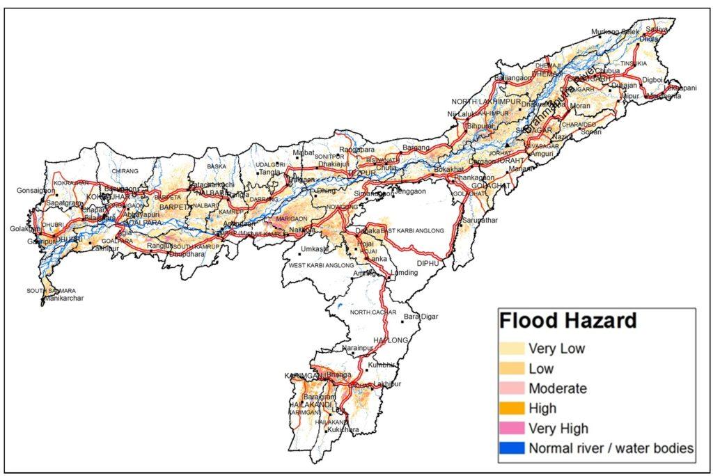 Flood hazard map of Assam. The different colours represent different hazard types. Credit: ISRO